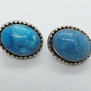 Vintage sterling turquoise large post bac earrings